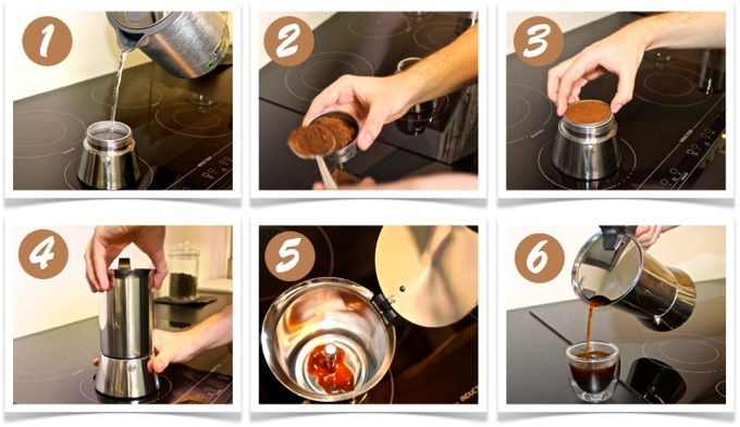 étape de la préparation d'un café italien
